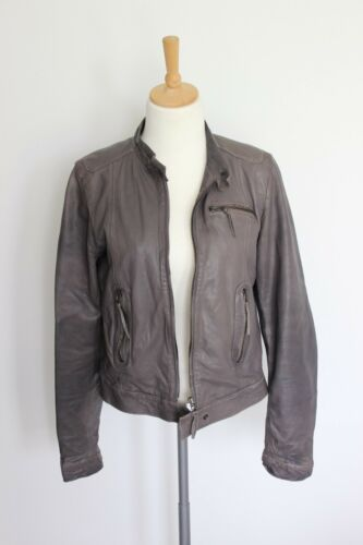 Grey 10 38 Women's Jacket M Brown Leather Size 1wfqAB5X