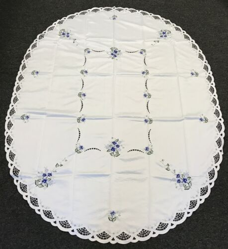 """White Oval Embroidery 72x90/"""" Embroidered Blue Floral Satin Fabric Tablecloth"""