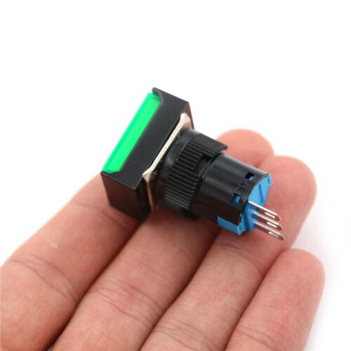 Momentary //Latching Push Button Switch Rectangular DC 12V//24V LED Light 5PiRCB9