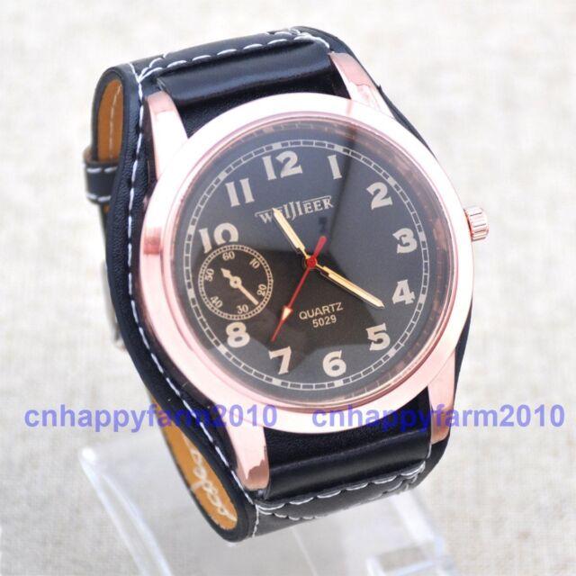 Large Size Face Big Leather Band Fashion Men Women Sport Quartz Wrist Watch