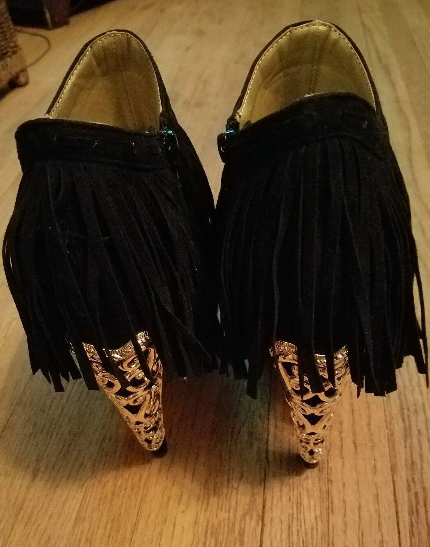 Privileged Lolla Black Fringe Gold Metal Detail Platform Banana Heel Ankle Boot