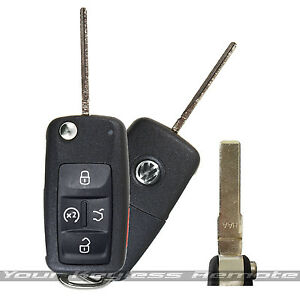 oem vw remote start flip key keyless fob transmitter uncut ignition blade  butt ebay