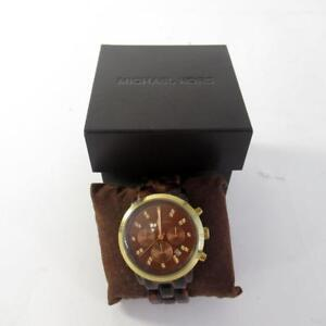 aeb08b608d2fa Image is loading Michael-Kors-MK5216-Ladies-Watch-with-Tortoise-Acrylic-
