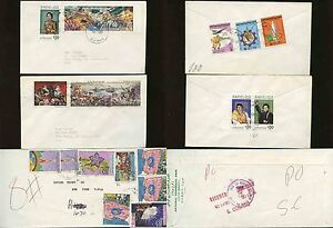 LIBYA-SPLA-JAMAHIRIYA-1980-87-COLOURFUL-MULTI-FRANKINGS-18-stamps-on-3-COVERS