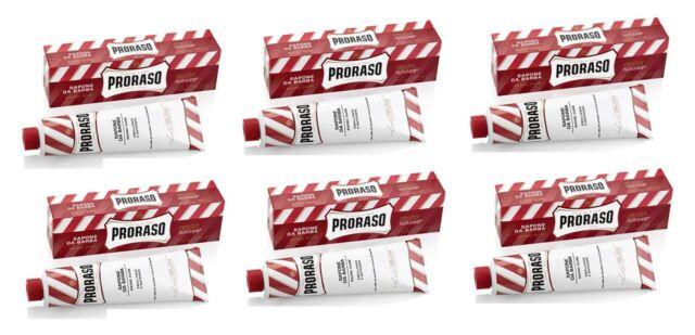 Proraso Shaving Cream,Sandalwood, 150ml tube - RED (6 Pack) + Tweezer