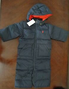 23a30a44b49a NWT Ralph Lauren Infant Boys Navy Down Hooded Snowsuit Bunting 3m 6m ...