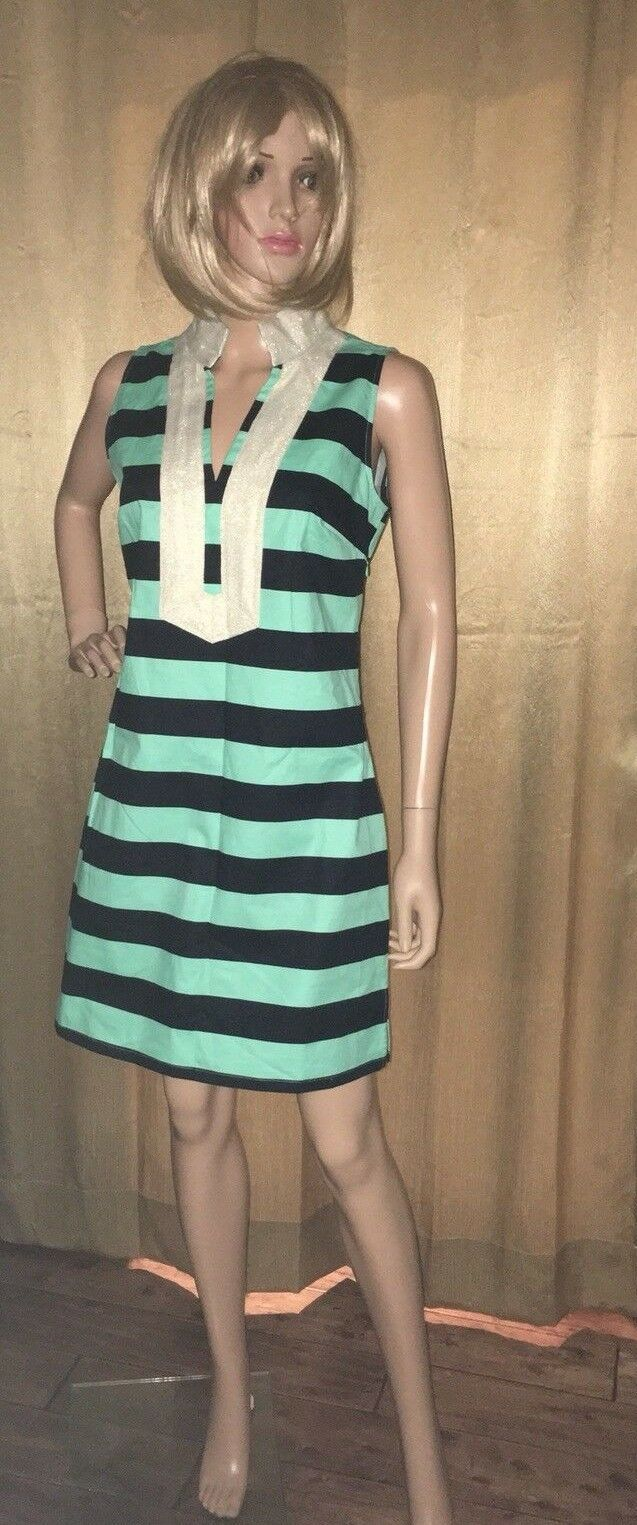 STS Sail To Sable Cabbage Navy Stripe gold Trim Tunic Dress SZ S NEW  198