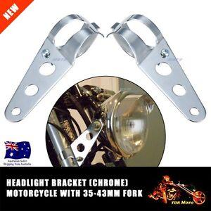 Headlight-Brackets-Chrome-Custom-Cafe-Racer-Bobber-Chopper-Cruiser-Tracker