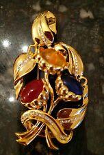 Vtg DESIGNER SIGNED CAROLEE LUCITE? GRIPOIX POURED GLASS? rhinestone PIN brooch