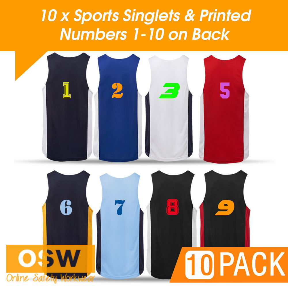 10 X  CONTRAST TAG/TOUCH/FOOTBALL/BASKETBALL JERSEYS SINGLETS + PRINTED NUMBERS