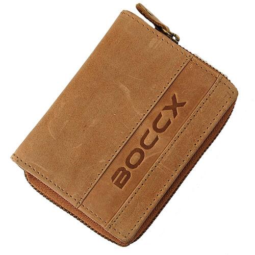 BOCCX  Reißverschuss Geldbörse Leder Geldbeutel Portemonnaie Damen Herren 40035