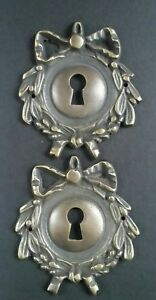 "2 Vintage Antique Style Ornate French Eschutcheons Key Hole Covers 2 3/4"" #E12"