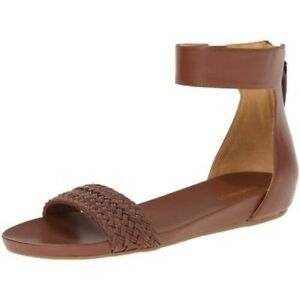 0f0126e0afb0 Nine West Hadley Leather Flat T Back Thong Sandals 7.5 Brown Ankle ...