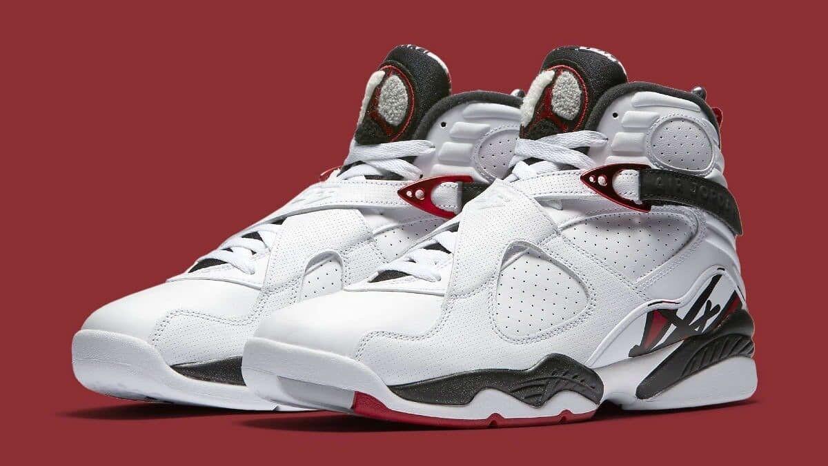 Nike air jordan 8 retro bianco - rosso / nero / grigio lupo uomo numero 17 305381-104