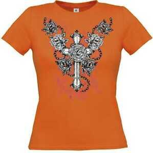 T Shirt in orange mit einem Gothik-,Biker-<wbr/>&Tattoomotiv Modell Cross Roses