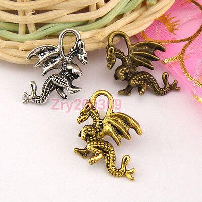 15Pcs Tibetan Silver,Antiqued Gold Bronze Flying Dragon Charms Pendants M1321