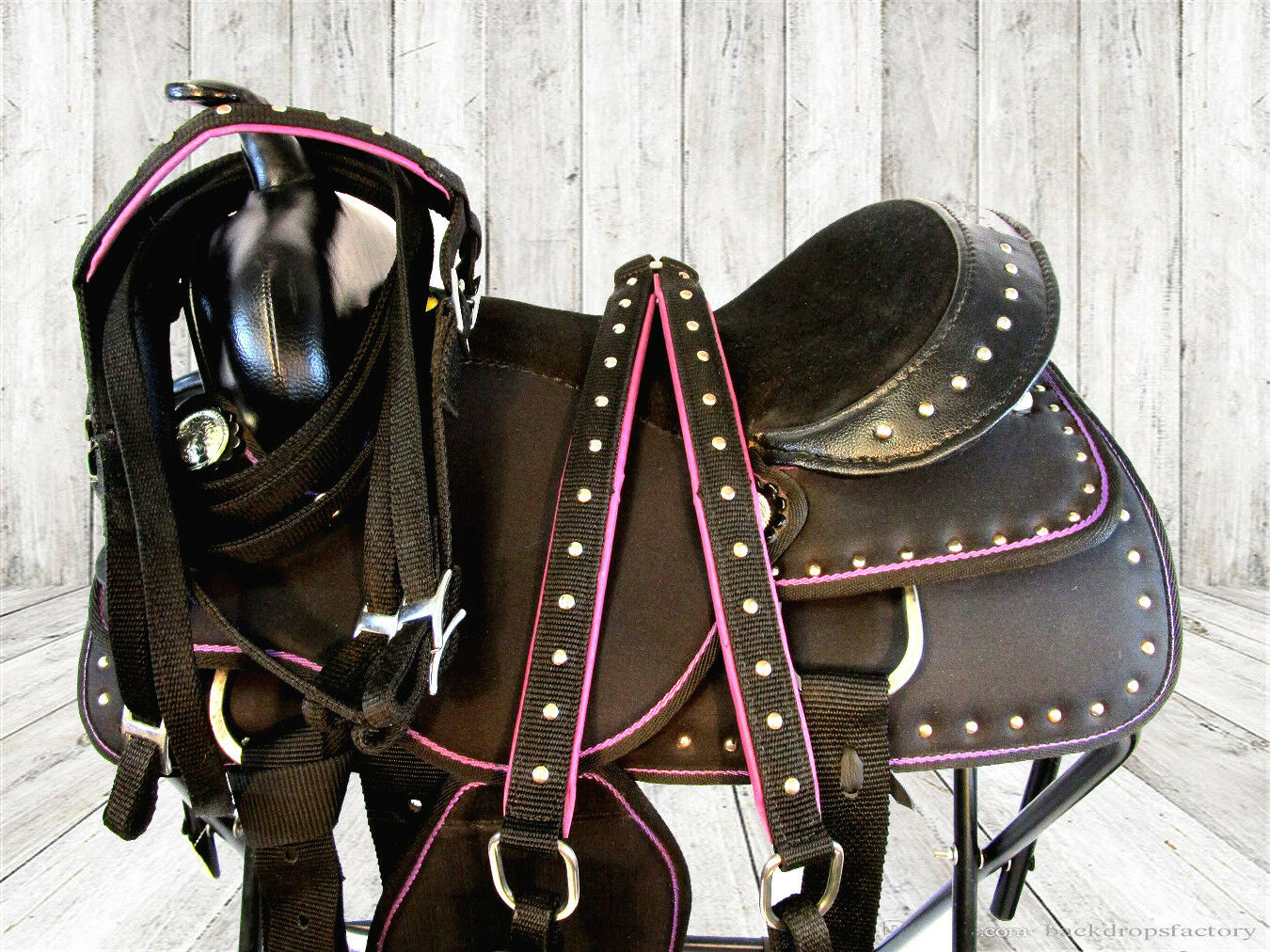 LIGHT WEIGHT CORDURA SYNTHETIC SHOW PURPLE BARREL WESTERN TRAIL SADDLE 15 16