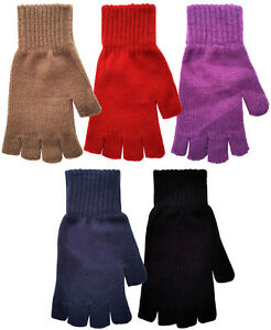 Ladies-Fingerless-Gloves-Fine-Knitted-Acrylic-Thermal-Winter-Warm-One-Size-BNWT