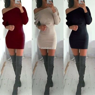 New-Sexy Women Off Shoulder Long Sleeve Bodycon Bandage Party Evening Mini Dress