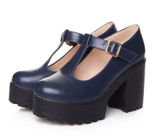 01 Womens T-Strap Platform High Chunky Heel Shoes Round Toe Mary Jane Buckle Hot