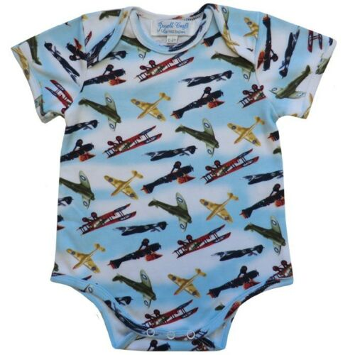 Powell Craft Baby Vest//Grow Vintage Plane Design New With Tags 100/% Cotton