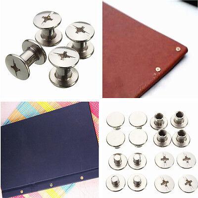 100PCS Nickel Binding Chicago Screws Nail Rivets Photo Album Leather Craft 5x6mm