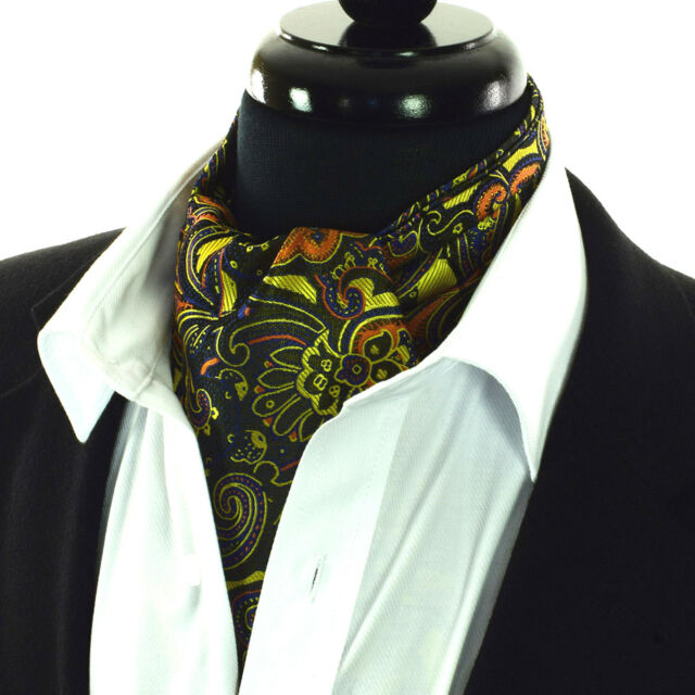 88dad4fb45b8 Gold Ascot Tie Floral Paisley Cravat Brown Blue Black Scarf FREE Hanky AS23