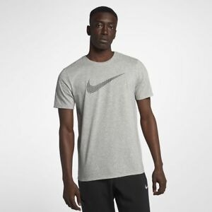1e965438 NIKE Tee Athletic Cut Men's DRI-FIT SWOOSH T-SHIRT Grey Heather ...