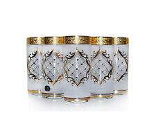 6 Longdrinkgläser Bohemia Kristallglas Dekor 3D Handbemalt in Gold 370-400 ml