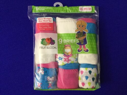 NEW Fruit of the Loom 9 Pack Toddler Girls Briefs Underwear Size 2T S4 3T