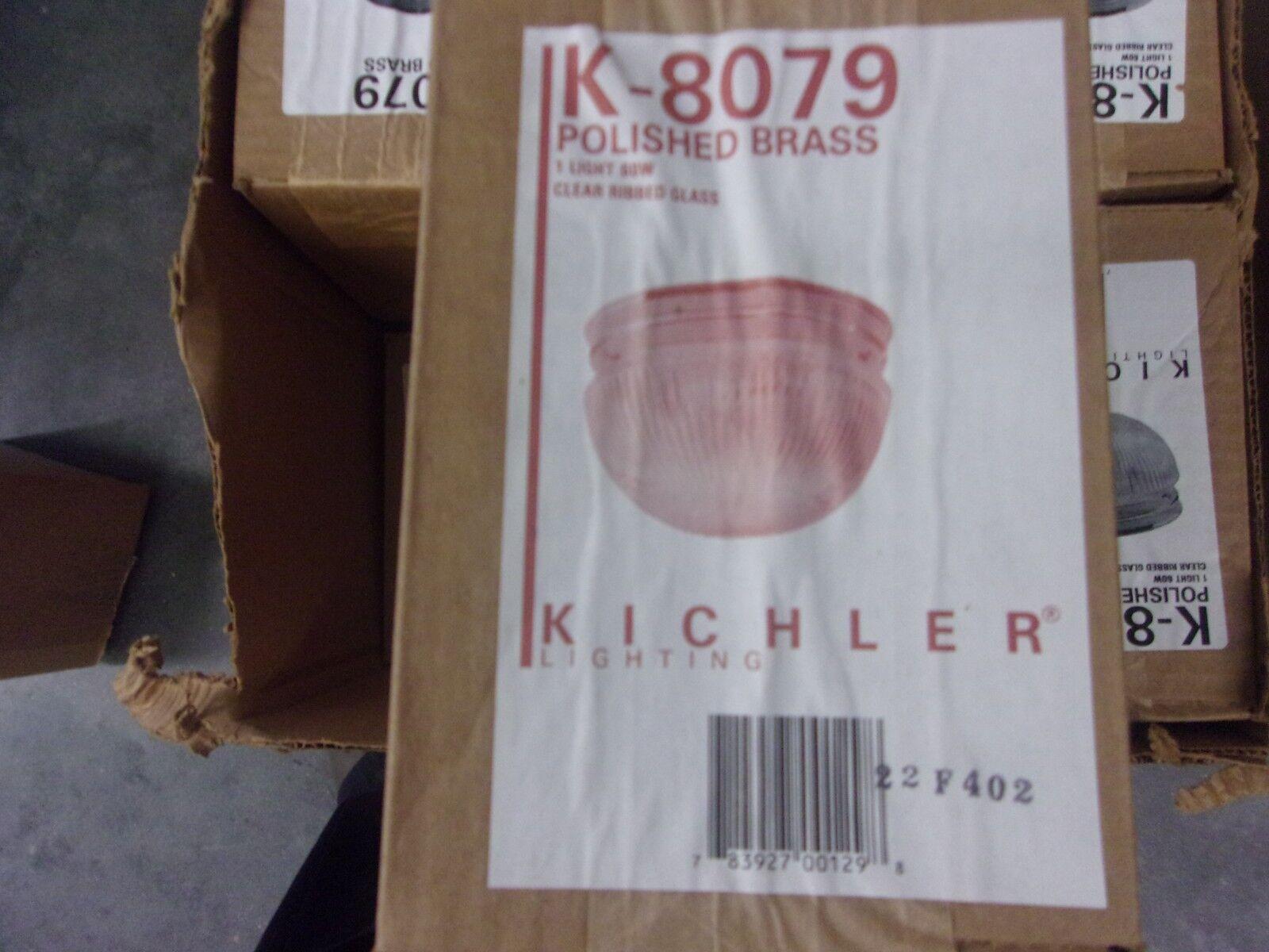 KICHLER LIGHTING  K- 8079 POLISHED BRASS LIGHT 60W CLEAR RIBBED GLASS