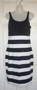 ALIVE-GIRL-Size-10-Black-and-White-with-Wide-Stripe-Stretch-Bodycon-Dress