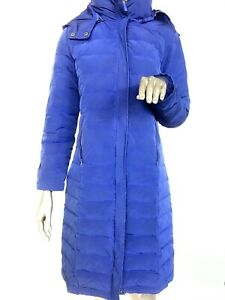 Woman-039-s-Garnet-Hill-size-S-6-Long-goose-Down-Puffer-Coat-Hood-blue-quilted-Small