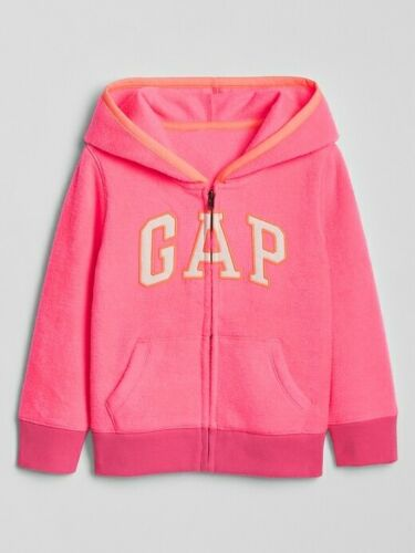 NWT BABY GAP GIRLS ZIP LOGO HOODIE SWEATSHIRT JACKET  fleece neon pink u pick
