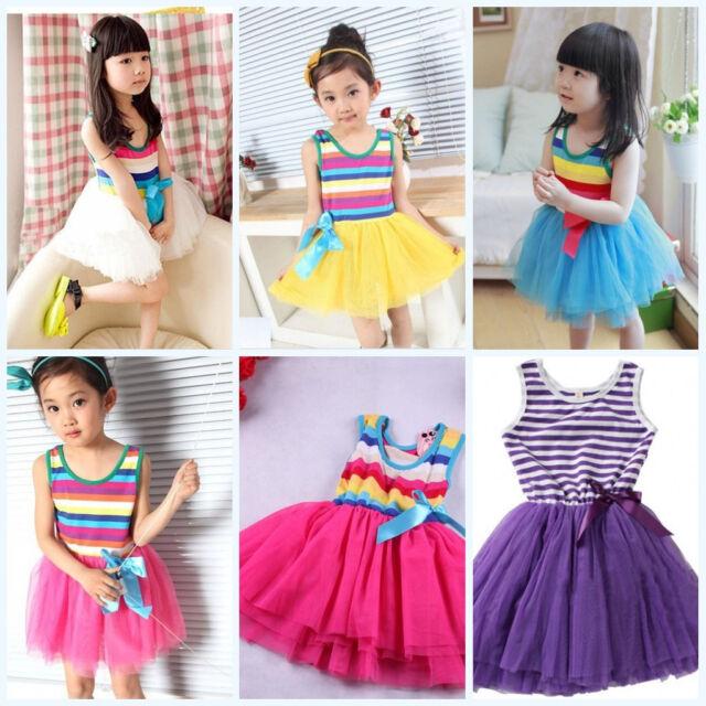 Kids Girls Princess Sundress Rainbow Tutu Dress Rainbow Veil Ballet Skirt