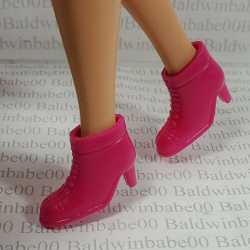 SHOES ~ MATTEL BARBIE DOLL PINK PLASTIC ANKLE BOOTS HIGH HEEL ACCESSORY