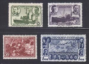 Russia-1940-MNH-Sc-772-775-Mi-741-744-Heroism-of-the-Sedov-crew-Polar-travel