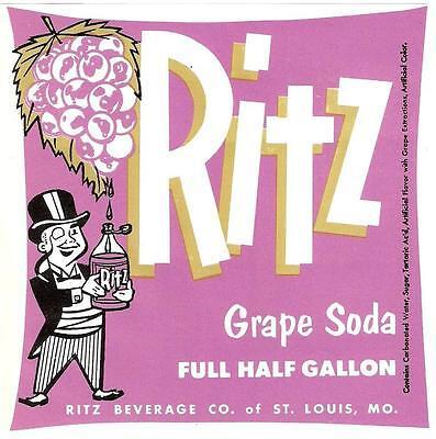 Ritz Cola Unused Soda Label Ritz Beverage Co Missouri Half Gallon Louis St