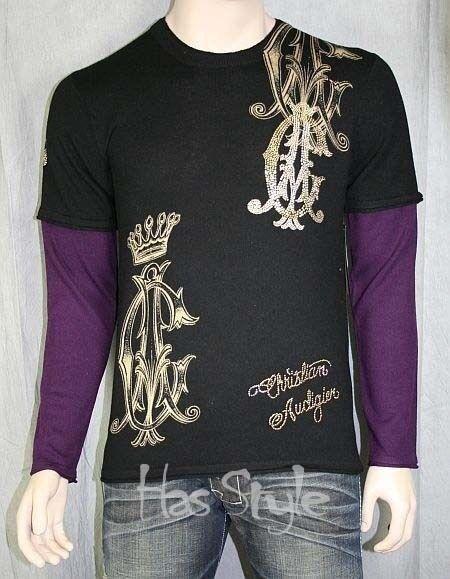 Christian Audigier SKULL stones CASHMERE layeROT sweater pullover super soft