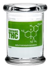 THC Molecule Pop Top Jar 420 Glass Portable Smell Proof Air Tight Medium Size