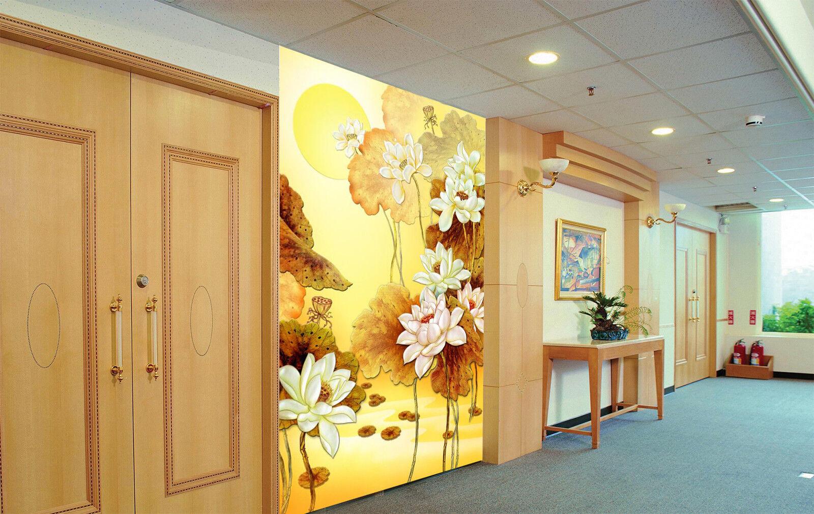 3D Golden Flowers Moon 88 Wallpaper Mural Paper Wall Print Wallpaper Murals UK