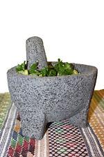 Molcajete Guacamole Basalt Lava Stone Mortar and Pestle Spice Grinder 6 inches