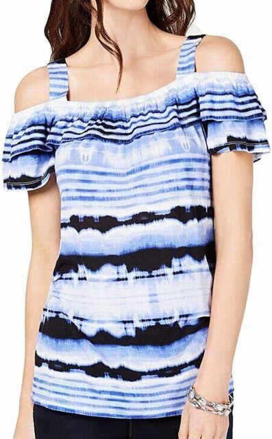 INC Women's Top Blue Size Large L Knit Cold Shoulder Ombre Stripe $54 #399