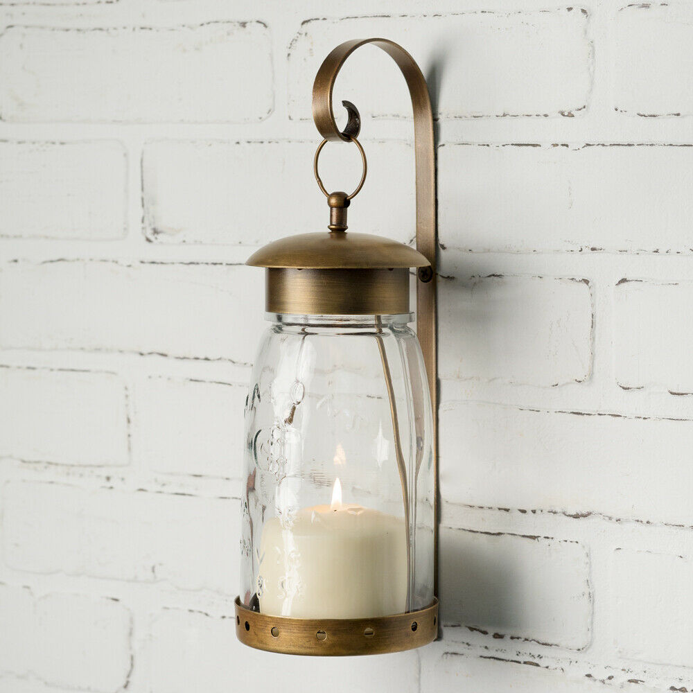 Country new pair of Antique Brass Hanging Mason Jar candle Sconce