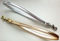 Gold / Silver Metallic Leather Clip-on Clutch Purse Pouch Wrist Strap - U.s.a.