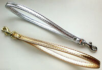 Gold / Silver Metallic Leather Clip-on Clutch Purse Pouch Wrist Strap - U.s.a.
