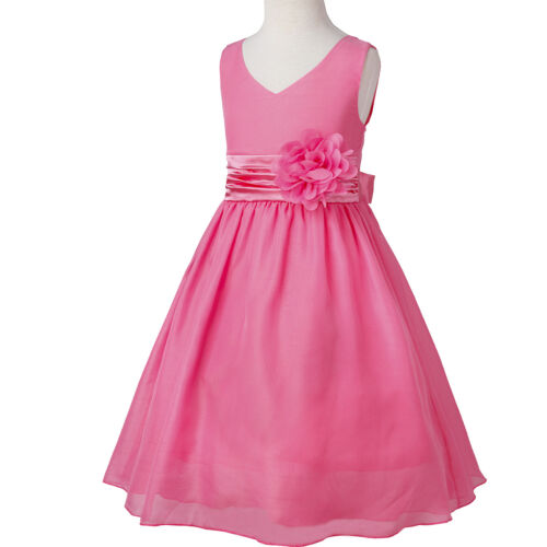 Flower Girl Dress Party Wedding Bridesmaid Birthday Formal Pageant V-neck Gown