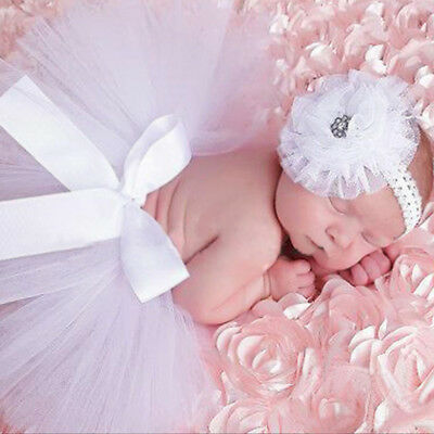 Newborn Baby Girl  Photo Photography Costume Prop Flower Headband Ballet Skirt
