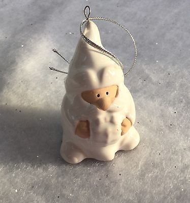 Mini Ceramic White Arctic Santa Father Christmas Tree Decoration Traditional