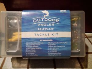Details about 58 piece Outdoor Angler Saltwater tackle box kit curly tail  sinkers fishing gear